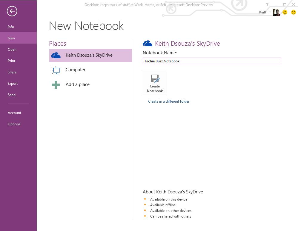 OneNote 2013 New Notebook