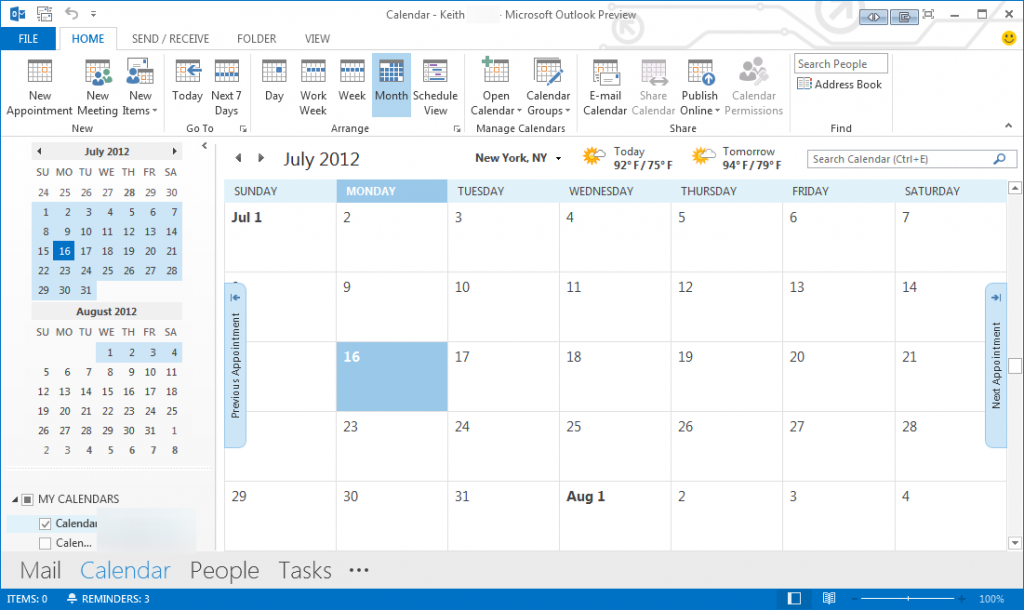 Outlook 2013 Calendar