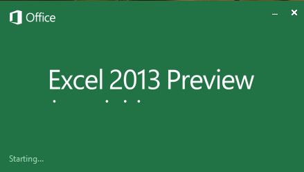 Excel 2013 Splash Screen