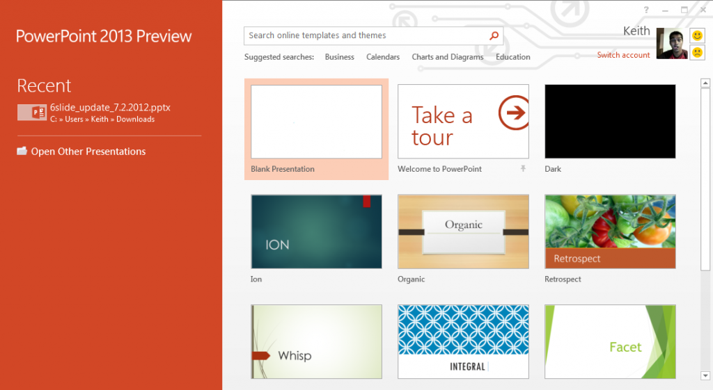 PowerPoint 2013 Home