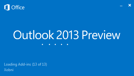 Outlook 2013 Splash Screen