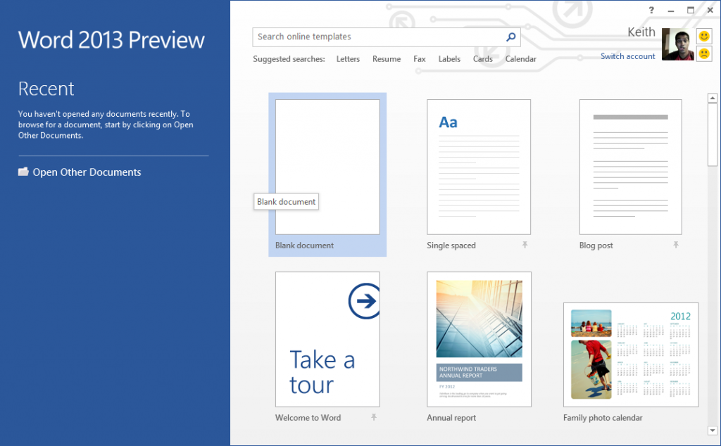 Word 2013 Home Page