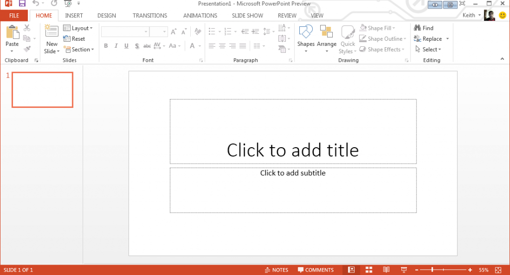 PowerPoint 2013 New Presentation