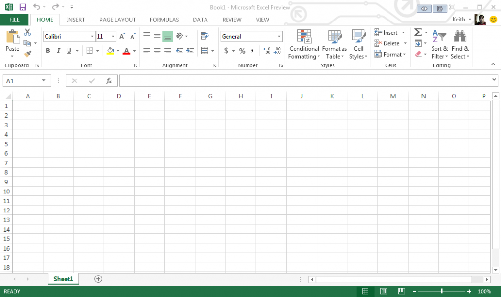 Excel 2013 New Spreadsheet